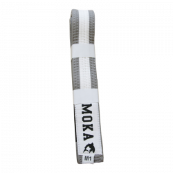 Mokahardware Kids BJJ Belt Gray-White