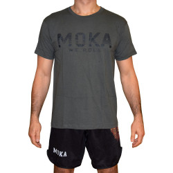 T-shirt - Moka Strips - Grå